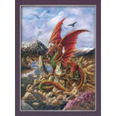 Art Mythical Poster, Fire Dragon van Briar